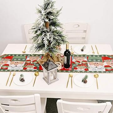 Blanketswarm Tischläufer, Weihnachts-Tischwäsche, Weihnachtsmann, Elch, Tischdecke, Tischdecke für Familienessen, Party, Zuhause, Urlaub, Dekoration, 35 x 180 cm - 3