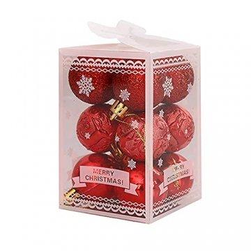"""BRISEZZ 12 Stück 9-Farben 1,57"""" Weihnachtsbaum Dekoration Kugel Weihnachten Anhänger Requisiten für Urlaub Hochzeit Dekoration Ornamente, Haken Enthalten, Boxed (Rot) - 1"""