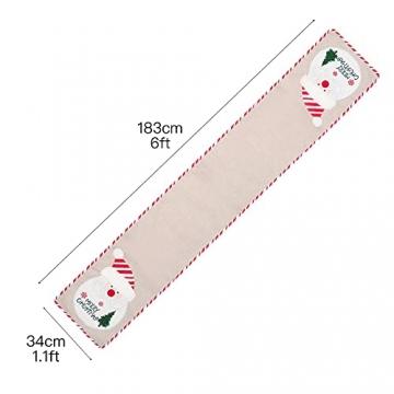 BWLIZIYEZI Weihnachtstischläufer, 182 cm, Weihnachts-Tischwäsche für Familie, Weihnachten, Urlaub, Tisch, Heim-Party-Dekoration - 2