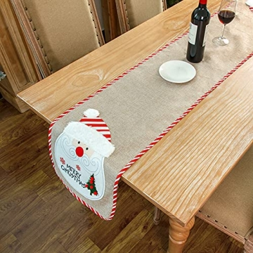 BWLIZIYEZI Weihnachtstischläufer, 182 cm, Weihnachts-Tischwäsche für Familie, Weihnachten, Urlaub, Tisch, Heim-Party-Dekoration - 7
