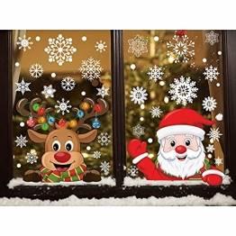 CMTOP Weihnachten Aufkleber Fenster 358 PCS Schneeflocken Weihnachtsmann Elch Fensterbilder Abnehmbare Statisch Haftende PVC doppelseitige Aufkleber für Weihnachts-Fenster Dekoration - 1