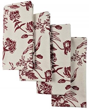 Crabtree Collection Deluxe-Weihnachtstischwäsche aus Baumwolle, leuchtende Farben für Küche und Esszimmer – (rote Vintage-Blumen-Servietten) - 2