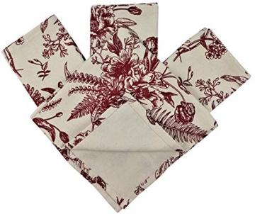 Crabtree Collection Deluxe-Weihnachtstischwäsche aus Baumwolle, leuchtende Farben für Küche und Esszimmer – (rote Vintage-Blumen-Servietten) - 3