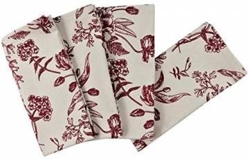 Crabtree Collection Deluxe-Weihnachtstischwäsche aus Baumwolle, leuchtende Farben für Küche und Esszimmer – (rote Vintage-Blumen-Servietten) - 1
