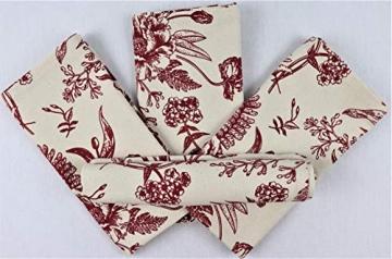 Crabtree Collection Deluxe-Weihnachtstischwäsche aus Baumwolle, leuchtende Farben für Küche und Esszimmer – (rote Vintage-Blumen-Servietten) - 6