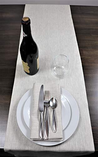 Crabtree Collection Tischläufer aus natürlichem Flachs, Weihnachts-Tischwäsche, zeitlos, Küchendekoration, Leinen, Servietten-Sets – (naturfarben, 35,6 x 91,4 cm) - 3
