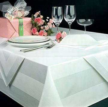 Damast Tischdecke weiß - 130 x 220 cm - bei 95°C waschbar Feinste Vollzwirn 100% Baumwolle mercerisiert aus hochwertigem Ringgarn - 3