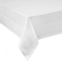 Damast Tischdecke weiß - 130 x 220 cm - bei 95°C waschbar Feinste Vollzwirn 100% Baumwolle mercerisiert aus hochwertigem Ringgarn - 1