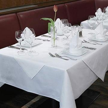 Damast Tischdecke weiß - 130 x 220 cm - bei 95°C waschbar Feinste Vollzwirn 100% Baumwolle mercerisiert aus hochwertigem Ringgarn - 4
