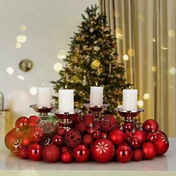 Deuba Weihnachtskugeln 100er Set Weihnachtsdeko matt glänzend Glitzer christbaumkugeln rot Ø 3 4 6 cm innen außen - 3