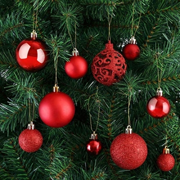 Deuba Weihnachtskugeln 100er Set Weihnachtsdeko matt glänzend Glitzer christbaumkugeln rot Ø 3 4 6 cm innen außen - 4
