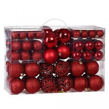 Deuba Weihnachtskugeln 100er Set Weihnachtsdeko matt glänzend Glitzer christbaumkugeln rot Ø 3 4 6 cm innen außen - 1