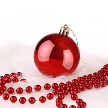 Deuba Weihnachtskugeln 100er Set Weihnachtsdeko matt glänzend Glitzer christbaumkugeln rot Ø 3 4 6 cm innen außen - 5