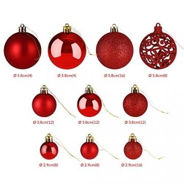 Deuba Weihnachtskugeln 100er Set Weihnachtsdeko matt glänzend Glitzer christbaumkugeln rot Ø 3 4 6 cm innen außen - 6