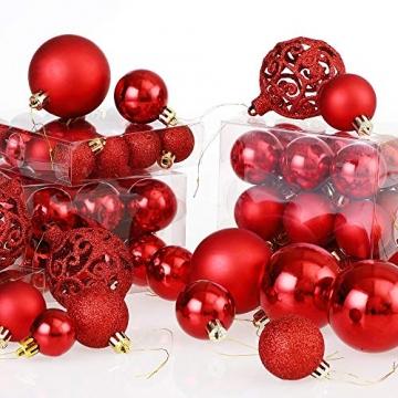Deuba Weihnachtskugeln 100er Set Weihnachtsdeko matt glänzend Glitzer christbaumkugeln rot Ø 3 4 6 cm innen außen - 7