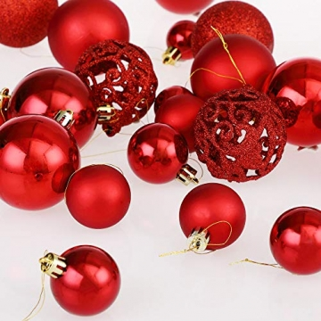 Deuba Weihnachtskugeln 100er Set Weihnachtsdeko matt glänzend Glitzer christbaumkugeln rot Ø 3 4 6 cm innen außen - 8