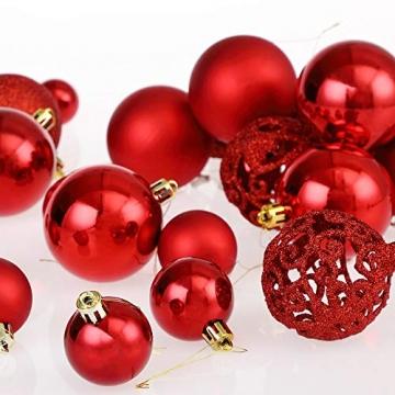 Deuba Weihnachtskugeln 100er Set Weihnachtsdeko matt glänzend Glitzer christbaumkugeln rot Ø 3 4 6 cm innen außen - 9