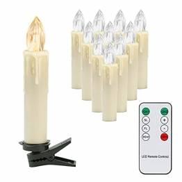 EINFEBEN 10x LED Weihnachtskerzen Kabellos, Christbaumkerzen mit Fernbedienung Timer Dimmbar, Warmweiß Kerzen für Weihnachtsbaum, Weihnachtsdeko - 1