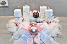 excl. Adventskranz weiß rosa 40 cm künstlich Weihnachten Adventsgesteck Deko Feder Kranz - 1