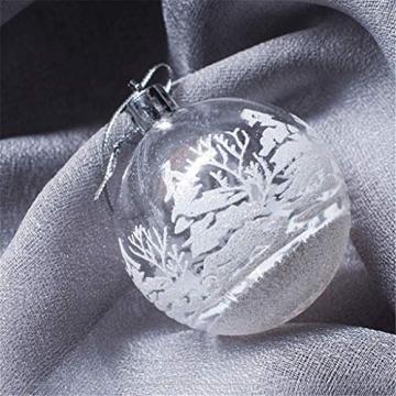 FeiliandaJJ 12Pcs Weihnachtskugeln Transparent Christbaumkugeln Weiss Schneeball Weihnachten Anhänger Kugeln Party Home Hochzeit Deko Ornamente für Weihnachtsbaum (Weiss) - 2