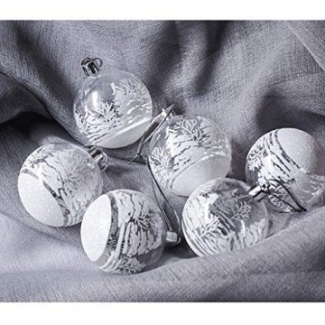FeiliandaJJ 12Pcs Weihnachtskugeln Transparent Christbaumkugeln Weiss Schneeball Weihnachten Anhänger Kugeln Party Home Hochzeit Deko Ornamente für Weihnachtsbaum (Weiss) - 1
