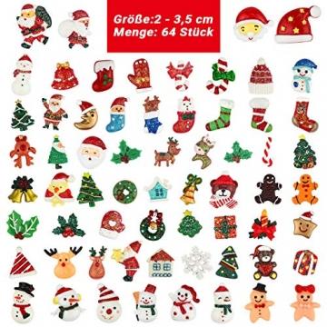 FHzytg 64 Stück Weihnachten Tischdeko Mini Deko Weihnachten, Deko Weihnachten Basteln Deko Weihnachten Mini Miniatur Deko Weihnachten Mini Figuren Weihnachten Miniatur für Tischdeko - 7
