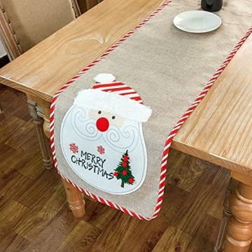 Flueyer 1,8 m Weihnachtstischläufer, Weihnachtsmuster, Esstischläufer, Weihnachts-Tischwäsche für Familie, Weihnachten, Urlaub, Tisch, Heim-Party-Dekor - 3