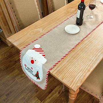 Flueyer 1,8 m Weihnachtstischläufer, Weihnachtsmuster, Esstischläufer, Weihnachts-Tischwäsche für Familie, Weihnachten, Urlaub, Tisch, Heim-Party-Dekor - 4