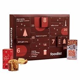 Foodist Gourmet Adventskalender 2021 mit 24 internationale Snacks wie Chips, div. Schokolade, Gebäck, salzigem Nuss-Mix, Fruchtgummis uvm. - exklusive Geschenk für Paare inkl. Rezept-Buch & DIY Tipps - 1
