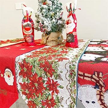 Gzjp Tischläufer, Weihnachtstischläufer, Table Runner Christmas, Weihnachtstischwäsche Mit Quaste, Esszimmer Party Urlaub Dekoration, 180x35 cm, Waschbar, Roter Weihnachtskranz - 5