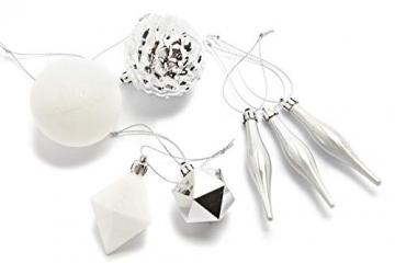HEITMANN DECO 29er Set Christbaumkugeln - Weihnachtsschmuck Silber und weiß zum Aufhängen - Kunststoff Christbaumschmuck - 2