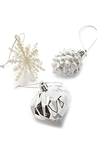 HEITMANN DECO 29er Set Christbaumkugeln - Weihnachtsschmuck Silber und weiß zum Aufhängen - Kunststoff Christbaumschmuck - 3