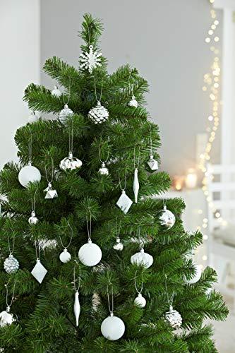 HEITMANN DECO 29er Set Christbaumkugeln - Weihnachtsschmuck Silber und weiß zum Aufhängen - Kunststoff Christbaumschmuck - 4