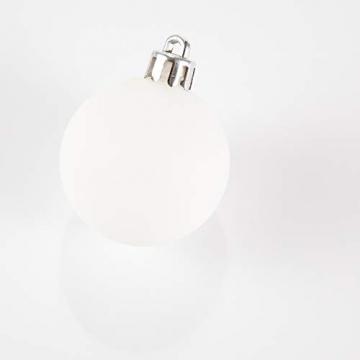 HEITMANN DECO 49er Set Christbaumkugeln 4 cm - Weihnachtsschmuck Weiß Silber Glänzend zum Aufhängen - Kunststoffkugeln Weihnachtsbaum - 7