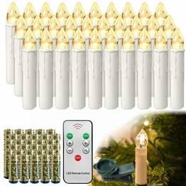 HENGMEI 30 Stück LED Kerzen Weihnachtskerzen Kabellos Warmweiß mit Fernbedienung Christbaumkerzen Weihnachtsbaum Kerzen Kerzenlichter Weihnachts - 1