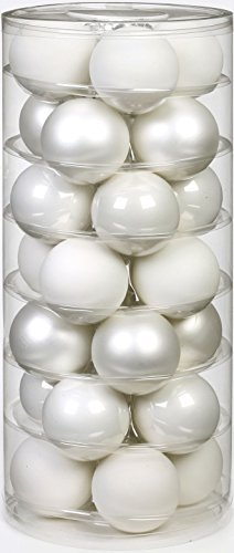 Inge Glas 15112D002 Kugel 45 mm, 28-Stück/Dose, Just white Mix(weiss,porzellanweiss) - 1