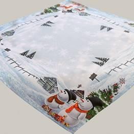 Kamaca Serie Frosty Snowman hochwertiges Druck-Motiv - EIN Schmuckstück zu Winter Weihnachten (Mitteldecke 85x85 cm) - 1