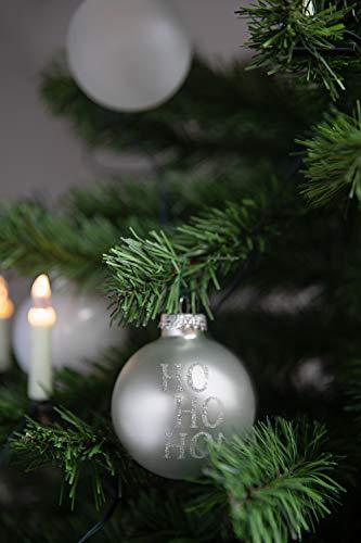 KREBS & SOHN 12er Set Weihnachtskugeln aus Glas - Christbaumschmuck Christbaumkugeln Weihnachtsdeko - Weiß, Silber und Glitzer, 7,5cm, 1007224 - 2