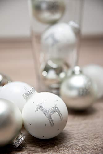 KREBS & SOHN 12er Set Weihnachtskugeln aus Glas - Christbaumschmuck Christbaumkugeln Weihnachtsdeko - Weiß, Silber und Glitzer, 7,5cm, 1007224 - 3