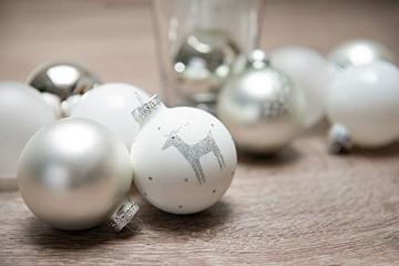 KREBS & SOHN 12er Set Weihnachtskugeln aus Glas - Christbaumschmuck Christbaumkugeln Weihnachtsdeko - Weiß, Silber und Glitzer, 7,5cm, 1007224 - 4