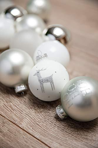KREBS & SOHN 12er Set Weihnachtskugeln aus Glas - Christbaumschmuck Christbaumkugeln Weihnachtsdeko - Weiß, Silber und Glitzer, 7,5cm, 1007224 - 6