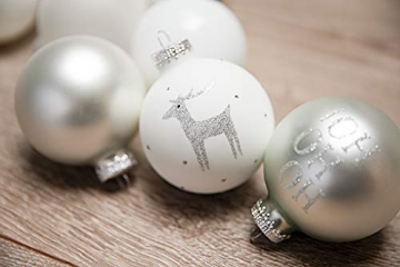 KREBS & SOHN 12er Set Weihnachtskugeln aus Glas - Christbaumschmuck Christbaumkugeln Weihnachtsdeko - Weiß, Silber und Glitzer, 7,5cm, 1007224 - 7