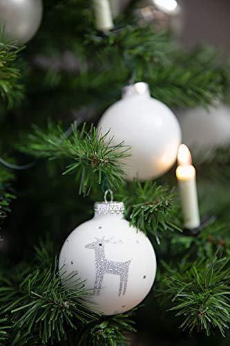 KREBS & SOHN 12er Set Weihnachtskugeln aus Glas - Christbaumschmuck Christbaumkugeln Weihnachtsdeko - Weiß, Silber und Glitzer, 7,5cm, 1007224 - 1