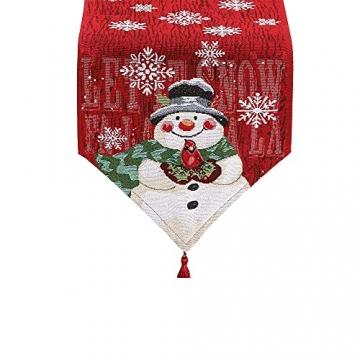 L.A.D. Lange Weihnachtstischwäsche, Weihnachtsmann-Leinen-Jute-Tischläufer für Weihnachtsfeier, Abendessen und Veranstaltungen, Dekoration (33 x 177,8 cm) - 2