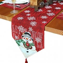 L.A.D. Lange Weihnachtstischwäsche, Weihnachtsmann-Leinen-Jute-Tischläufer für Weihnachtsfeier, Abendessen und Veranstaltungen, Dekoration (33 x 177,8 cm) - 1