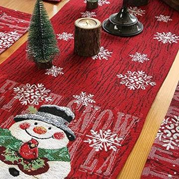 L.A.D. Lange Weihnachtstischwäsche, Weihnachtsmann-Leinen-Jute-Tischläufer für Weihnachtsfeier, Abendessen und Veranstaltungen, Dekoration (33 x 177,8 cm) - 5