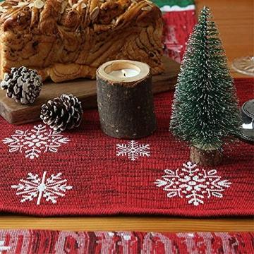 L.A.D. Lange Weihnachtstischwäsche, Weihnachtsmann-Leinen-Jute-Tischläufer für Weihnachtsfeier, Abendessen und Veranstaltungen, Dekoration (33 x 177,8 cm) - 6