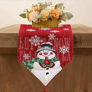 L.A.D. Lange Weihnachtstischwäsche, Weihnachtsmann-Leinen-Jute-Tischläufer für Weihnachtsfeier, Abendessen und Veranstaltungen, Dekoration (33 x 177,8 cm) - 7