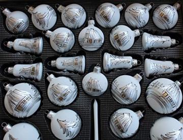 Lauscha 40er Christbaumschmuck, Weihnachtsbaumkugel Weiß mit Haus in Silber, 38 Kugel+Spitze+Aufhänger, Handarbeit - 3