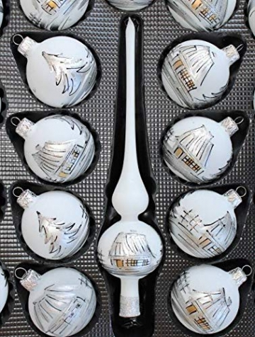 Lauscha 40er Christbaumschmuck, Weihnachtsbaumkugel Weiß mit Haus in Silber, 38 Kugel+Spitze+Aufhänger, Handarbeit - 4